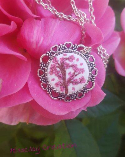 Collana fimo fiori di ciliegio