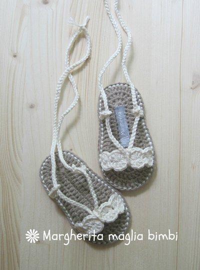 Sandali baby puro cotone color avorio - scarpine fatte a mano all'uncinetto