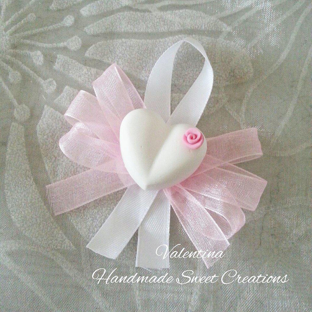 Segnaposto gessetto cuore con rosa