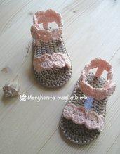 Sandali alla schiava colore rosa pesca in puro cotone fatti a mano