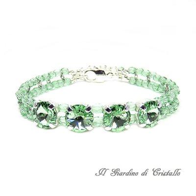 Bracciale cristalli Swarovski Rivoli verde chiaro Chrysolite e mezzi cristalli fatto a mano - Ibisco