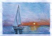 Acquerello vela al tramonto dipinto a mano