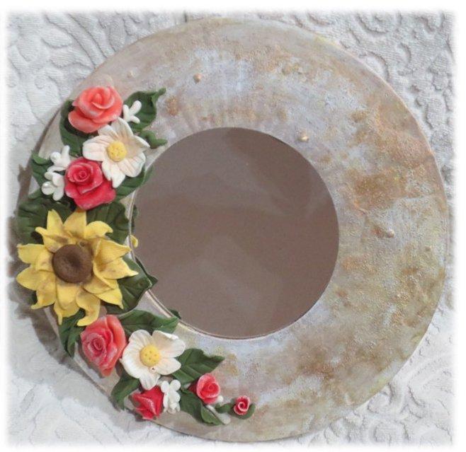 """""""specchio Fiorito"""" specchio decorato a mano con fiori in pasta di mais"""