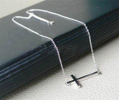 collana croce orizzontale crocifisso donna bracciale cross idea regalo argento