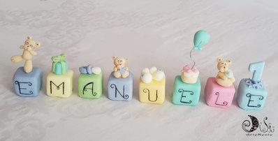 cake topper cubi MINI primo compleanno personalizzato con nome multicolor