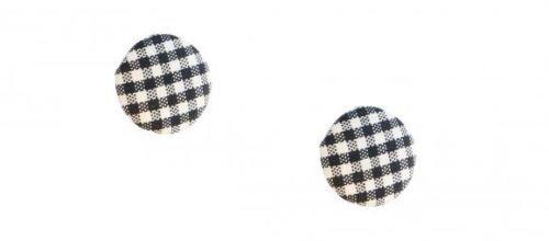 Orecchini quadretti bianchi e neri bottone tondi