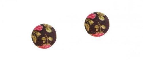 Orecchino tondo bottone marrone con fiori rosa e verdi