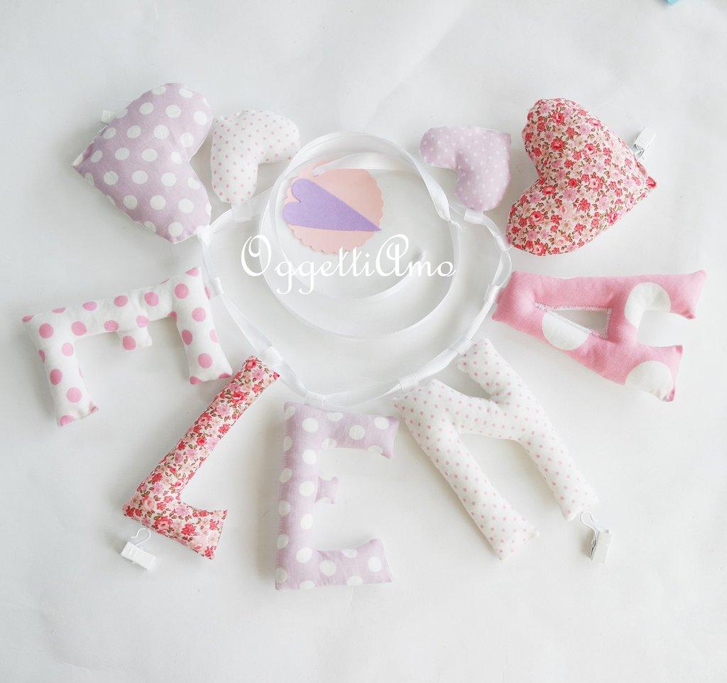 Elena: una ghirlanda in lettere di stoffa imbottite per decorare con il suo nome la cameretta