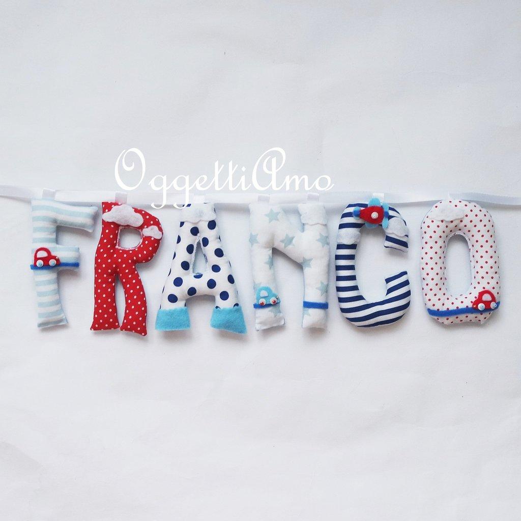 Franco: una ghirlanda di lettere imbottite per decorare la cameretta con il suo nome