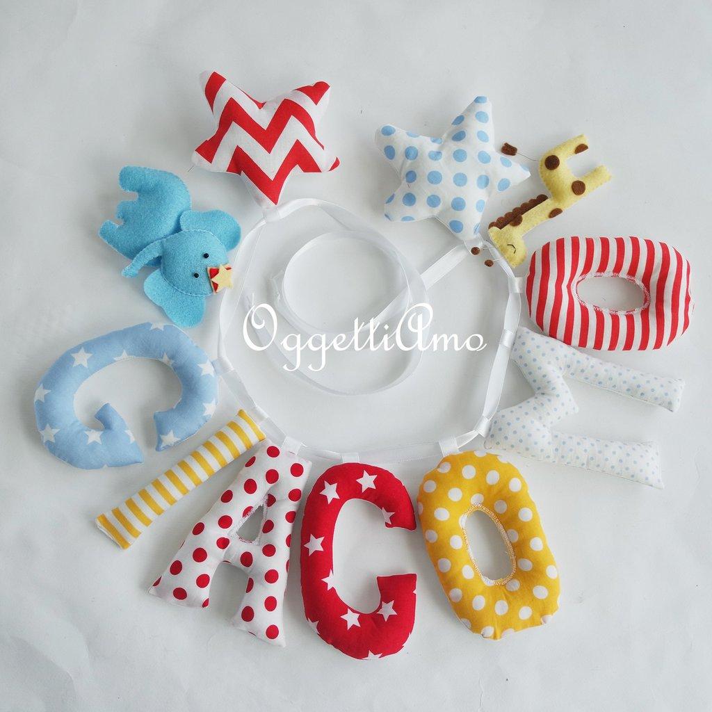 Giacomo: una decorazione di lettere in stoffa per decorare la sua cameretta