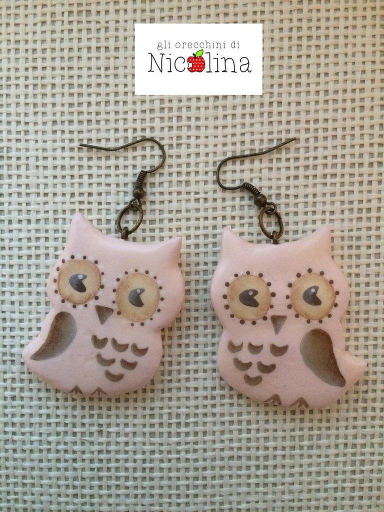 Orecchini gufi rosa/Beje