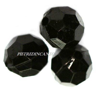 10 GRAMMI cristalli in plastica tondi neri 12mm - 4831