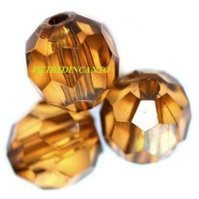 10 GRAMMI cristalli in plastica tondi marroni 10mm - 4822