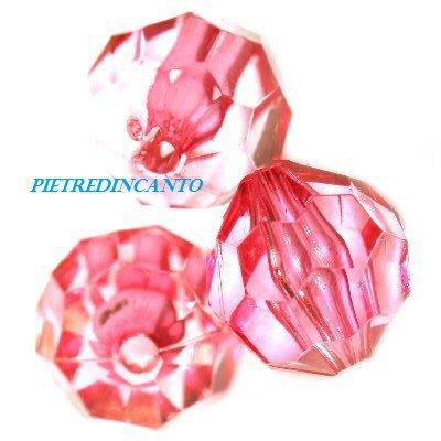 25 PEZZI cristalli in plastica tondi fuxia 10mm - 4817