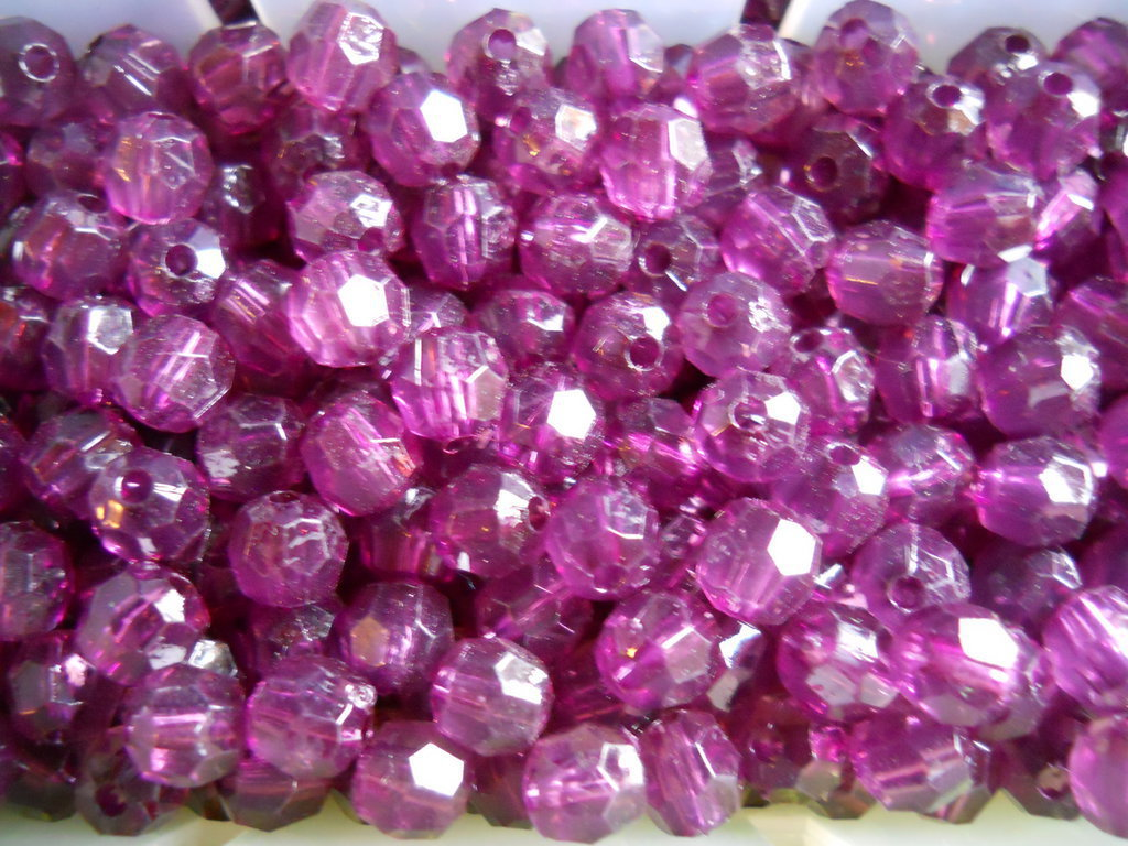 95 PEZZI cristalli in plastica tondi viola 6 mm - 4803