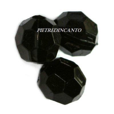 10 GRAMMI cristalli in plastica tondi neri 6 mm - 4807