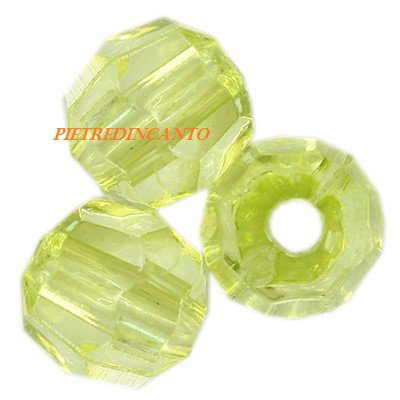 10 GRAMMI cristalli in plastica tondi verdi 6 mm - 4805
