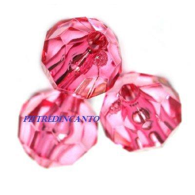 95 PEZZI cristalli in plastica tondi fuxia 6 mm - 4801