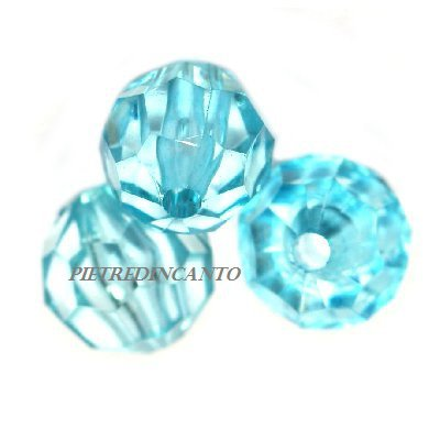 10 GRAMMI cristalli in plastica tondi turchesi 6 mm - 4802