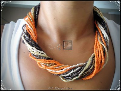 Collana Multifilo a Girocollo - Marrone/Arancio