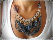 Collana con Cristalli, Conteria e Catena - Colore Bluette