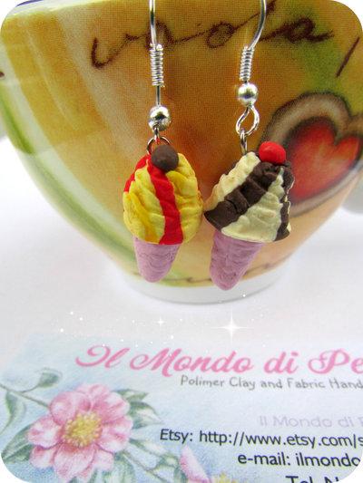 Orecchini Cono Gelato Handmade in Fimo