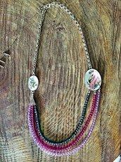 Collana con fenicottero rosa