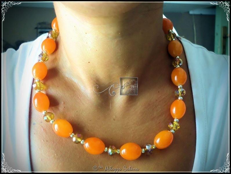 Collana Perle in Vetro e Cristalli Color Arancio