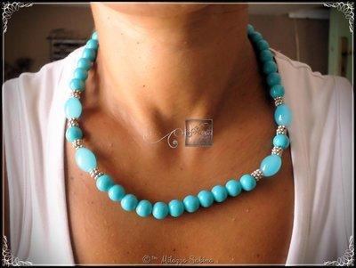 Collana con Perle Azzurre in Angelite