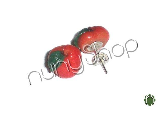 Orecchini frutta (perno) - MELA ROSSA
