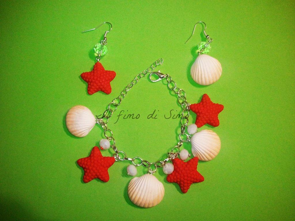 bracciale con orecchini conchiglie e stelle marine in pasta polimerica