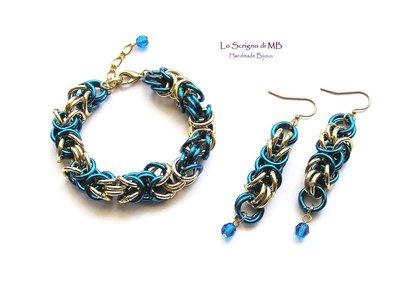 Bracciale e Orecchini in maglia bizantina, blu e oro