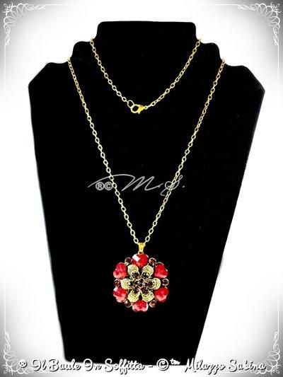 Collana Maxi Ciondolo Fiore con strass e pietra Howlite - Rosso