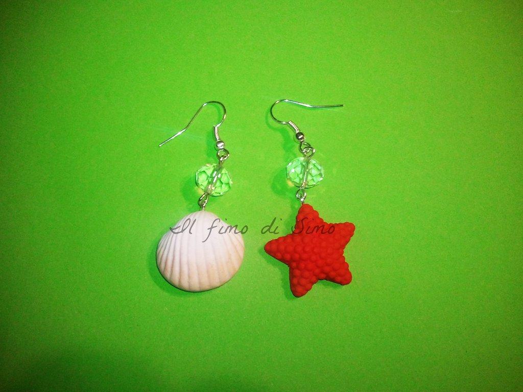 orecchini conchiglia e stella marina in pasta polimerica