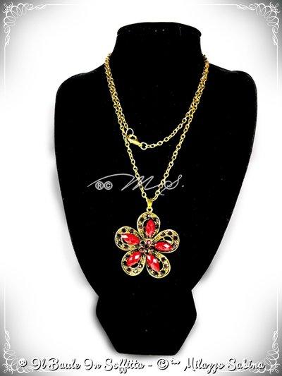 Collana Maxi Ciondolo Fiore con strass e pietra Howlite - Bordeaux