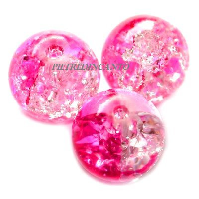 LOTTO 20 SFERE ROSA CRACKLE 6mm Cod. 3171