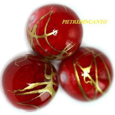 SFERA IN PLASTICA STRIATA ROSSA 10 mm - 7011