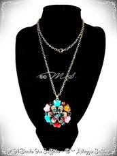 Collana Maxi Fiore con strass e pietra Howlite - Multicolor