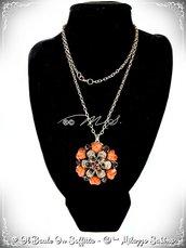 Collana Maxi Fiore con strass e pietra Howlite - Marrone