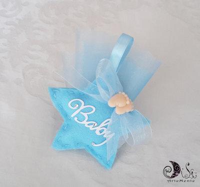 Bomboniera nascita e battesimo portaconfetti stella celeste baby  in tessuto con applicazione piedini
