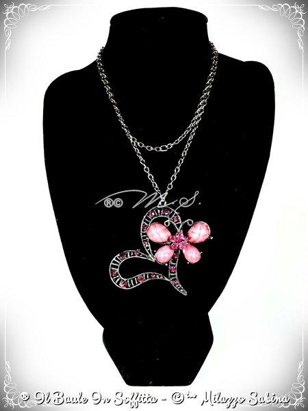 Collana Ciondolo Cuore con Farfalla Rosa