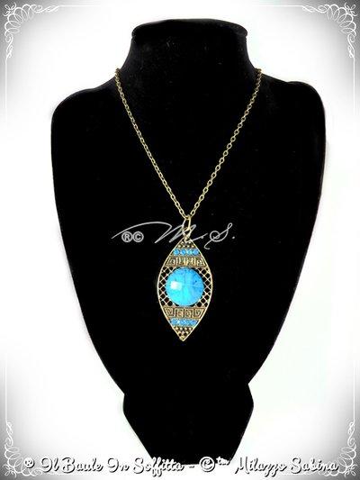 Collana in Bronzo Stile Etnico con Howlite e strass - Azzurra