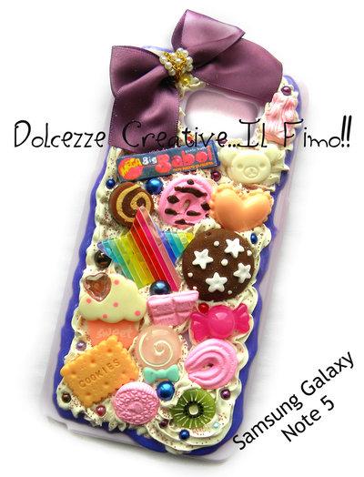Cover Samsung Galaxy Note 5 cute kawaii caramelle cioccolato fiocco torta biscotti pan di stelle cuori