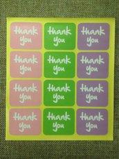 etichette adesive colorate thank you