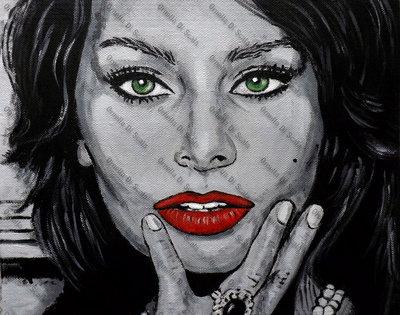 Quadro Sophia Loren acrilico moderno design arredo pop art cinema napoli