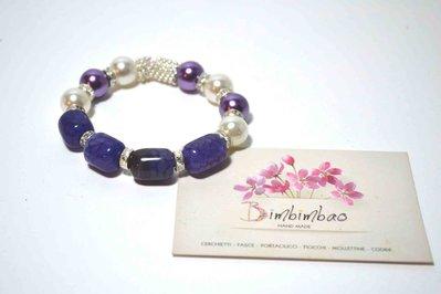 bracciale elastico donna fatto a mano agata viola vera perle bianche viola