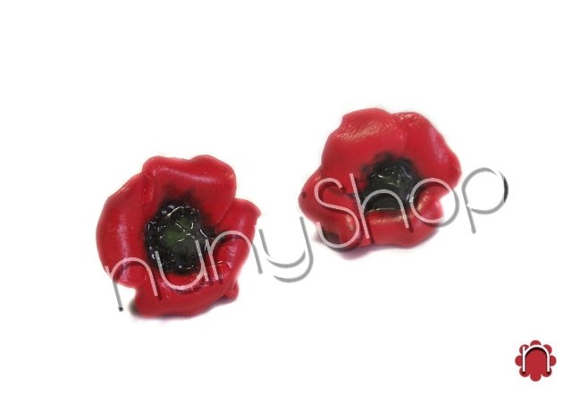 Orecchini floreali (perno) - PAPAVERO