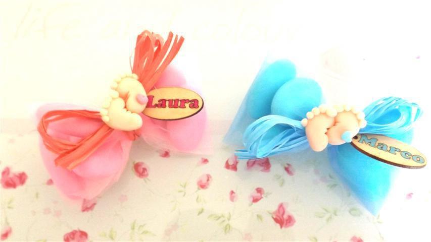 OFFERTA PROMOZIONALE FIMO - BOMBONIERE COMPLETE - PIEDINI con cuoricino- con sacchettino confetti e in OMAGGIO targa con nome