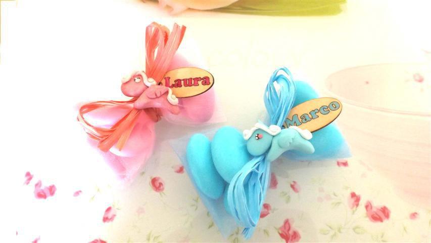 OFFERTA PROMOZIONALE FIMO - BOMBONIERE COMPLETE - MINI PONY - con sacchettino confetti e in OMAGGIO targa con nome