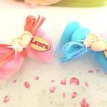 OFFERTA PROMOZIONALE FIMO - BOMBONIERE COMPLETE - PIEDINI con strass swarovski- con sacchettino confetti e in OMAGGIO targa con nome